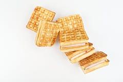 长方形维也纳奶蛋烘饼不是白色背景 库存图片