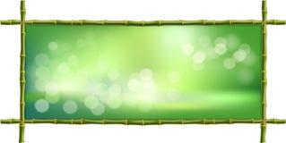 长方形绿色竹子阻止边界框架有bokeh背景 向量例证