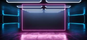 长方形门激光背景霓虹减速火箭的未来派科学幻想小说现代太空飞船光滑的光谱紫色蓝色充满活力的桃红色彩虹 库存例证