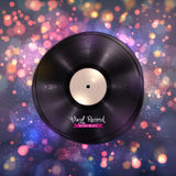 长时间LP唱片 与迪斯科光的音乐背景 库存图片