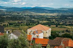 长暗藏的犹太社区的拜特埃利亚胡犹太教堂在贝尔蒙特葡萄牙,建立1996年与围拢 库存图片