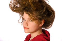 长期卷曲女孩头发 图库摄影