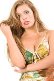 长期有吸引力的白肤金发的女孩头发 免版税图库摄影