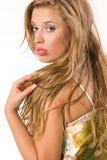 长期有吸引力的白肤金发的女孩头发 免版税库存图片