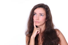 长期看起来性感的妇女的copyspace头发 免版税库存照片