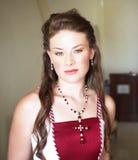 长期美丽的新娘头发 免版税图库摄影