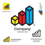长条图商标摘要标志现代干净的身分品牌和App象标志概念集合模板 免版税库存照片