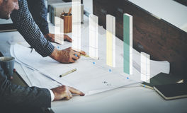 长条图统计分析企业概念 免版税库存照片