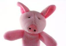 长毛绒桃红色玩具猪 免版税库存图片