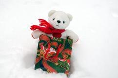 长毛绒玩具熊圣诞节礼品存在袋子雪 免版税库存照片