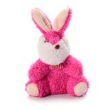 长毛绒在白色背景的玩具兔子 库存照片