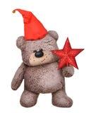 长毛绒玩具熊玩具在圣诞老人帽子 库存照片