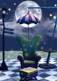 长沙发、伞和灯的特写镜头黑暗的童话场面 皇族释放例证