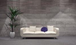 长沙发和植物花瓶的在现代客厅 向量例证