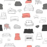 长沙发无缝的样式 向量手拉的例证 向量例证