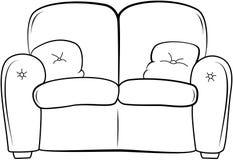 长沙发概述例证 一刹那膝上型计算机光草图样式 皇族释放例证