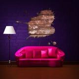 长沙发漏洞闪亮指示粉红色飞溅标准 库存例证