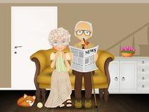 长沙发的祖父母 皇族释放例证