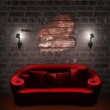 长沙发空的框架红色灯台 皇族释放例证