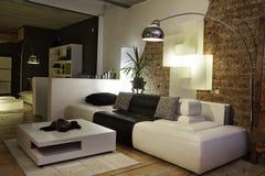 长沙发设计内部居住的现代空间沙发 库存图片