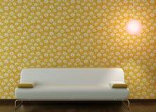 长沙发设计用花装饰的内部墙纸 皇族释放例证