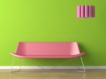 长沙发设计fuxia绿色内部闪亮指示墙壁 库存图片