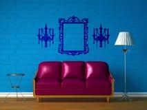 长沙发闪亮指示紫色标准表 库存例证