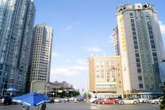 长沙瓷:城市交通和大厦 免版税库存照片