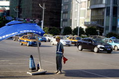 长沙瓷:城市交通和大厦 免版税图库摄影