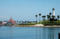 长海滩的灯塔 免版税库存照片