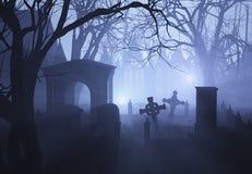 长满的墓地有薄雾 免版税图库摄影