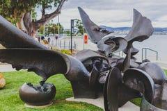 长滩,桑迪贝,铜雕塑`潮汐水池`斯蒂芬 免版税库存照片
