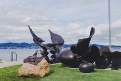 长滩,桑迪贝,铜雕塑`潮汐水池`斯蒂芬 免版税库存图片