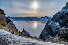 长白山的Tianchi天堂般的湖,吉林中国 免版税图库摄影