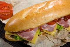 长的三明治用肉、菜和烤肉汁 免版税库存图片