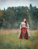 长的中世纪礼服的美丽的女孩走在夏天草甸的 免版税库存照片