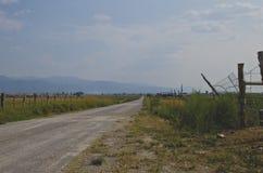 长的乡下公路的侧视图 库存照片