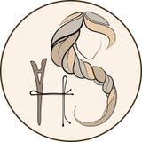 长的发型象,商标在白色背景,传染媒介的妇女面孔 库存照片