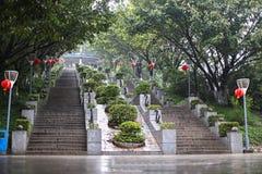 长的台阶在公园 免版税库存图片