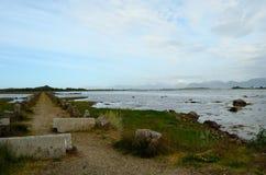 长的土路在海 免版税库存照片