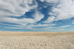 长的壳海滩在鲨鱼湾在有蓝天的西澳州在背景 免版税库存图片