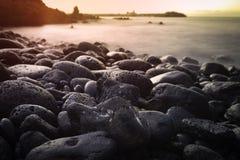 长的曝光射击了美好的日出在特内里费岛,西班牙 免版税库存图片