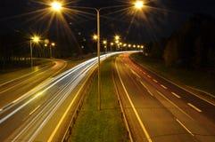 长的曝光被射击繁忙的高速公路 库存照片
