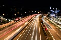 长的曝光高速公路射击 免版税库存图片