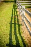 长的木篱芭透视图在绿色农场 免版税库存照片
