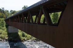 长的桥梁在一条暗藏的小河上坐 免版税库存照片