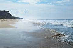 长的海洋海滩在天际 库存图片