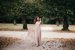 长的玫瑰色晚礼服的美丽的妇女 免版税图库摄影