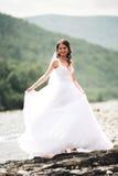 长的白色婚礼礼服的美丽的豪华年轻站立有山的新娘和面纱近的河在背景 免版税库存图片