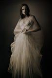 长的礼服的端庄的妇女 免版税库存照片
